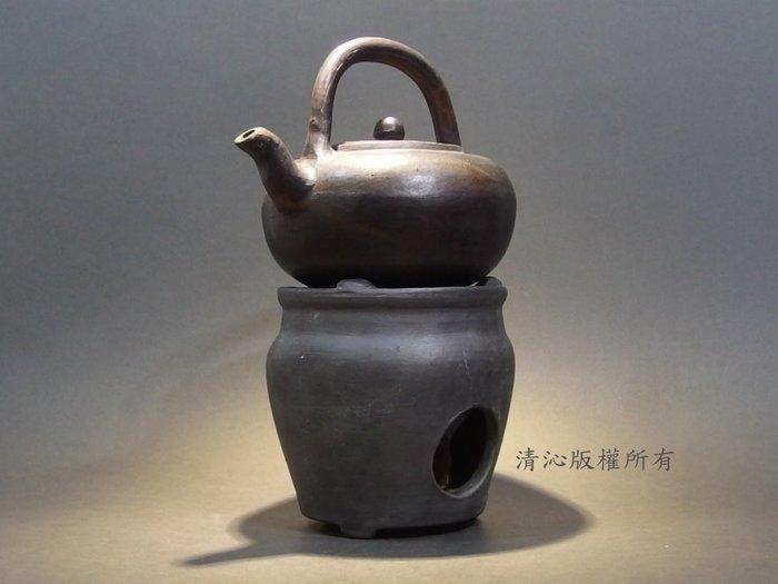 ☆清沁苑☆日本煎茶道具~古い手作黑泥提把湯沸+手作黑泥涼炉~d132