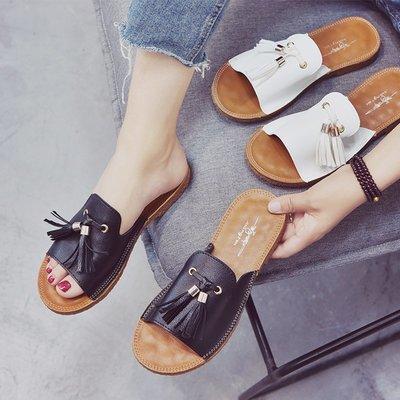 2017夏季新款平底一字涼拖鞋簡約舒適牛筋底流蘇女拖鞋外穿韓版女