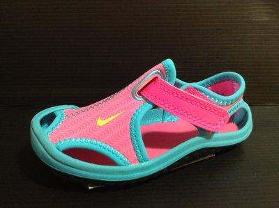 Nike 女孩 小童涼鞋 包腳趾頭設計 耐磨耐滑 耐水性 戲水涼鞋 黏貼帶設計 12cm