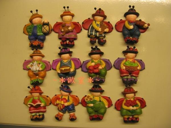 ~*歐室精品傢飾館*~歐式~可愛 瓢蟲娃娃 磁鐵擺飾(12/組)~新款上市~促銷價~