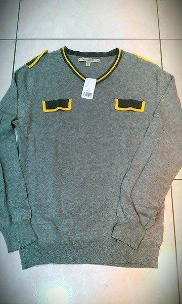 ~The Black Dan Moccani~ [四折] FOREVER 21 灰色 V領 滾邊 造型口袋 針織衫