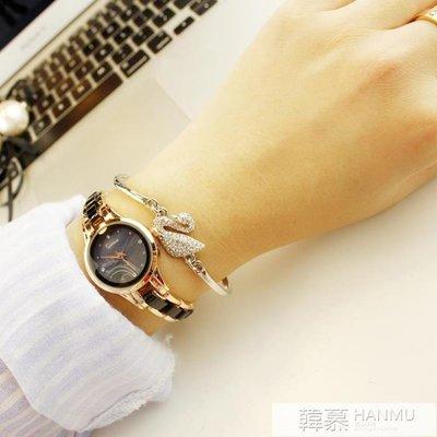 手錶女學生韓版簡約休閒大氣時尚潮流復古手錬錶女士防水石英女錶