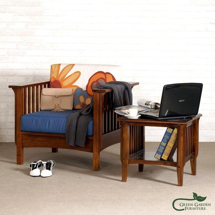 伊凡思 柚木單人沙發椅【大綠地家具】100%印尼柚木實木/絕版出清/實木沙發/單人椅