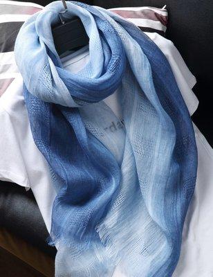 【Lady Luck服飾】原創文藝法國純亞麻圍巾絲巾 春夏季藍灰漸變手繪遮陽披肩長款女