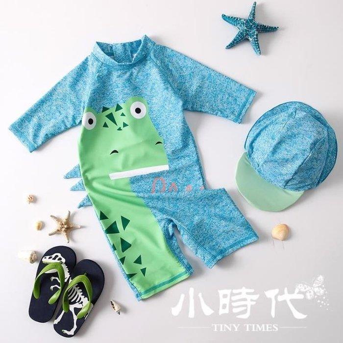 兒童泳衣 男童可愛時尚恐龍連體寶寶嬰兒游泳衣度假防曬泳褲