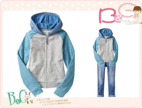 【B& G童裝】正品美國進口OLD NAVY 粉藍袖內軟刷毛長袖連帽外套L號9-10yrs