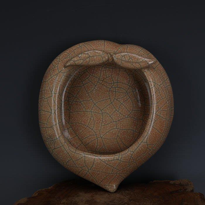 【古玩今典】宋代哥窯手工瓷金絲鐵線桃形洗做舊仿出土古瓷器古玩古董收藏擺件