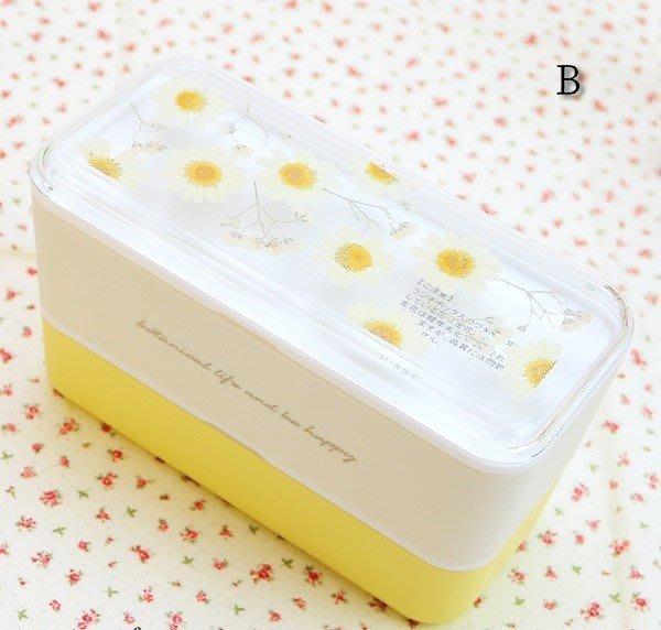 《散步生活雜貨-廚房散步》日本製 Herbarium lunch 押花設計 兩層式 便當盒 午餐盒-B