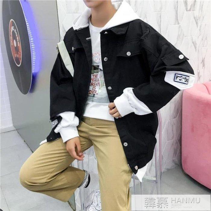 秋天新款男生粉色牛仔外套韓版潮流百搭bf帥氣夾克男裝修身上衣服