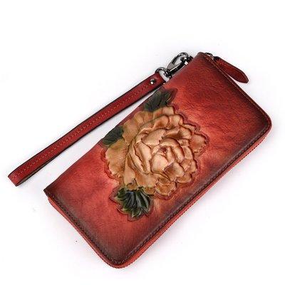 【包妳喜歡】復古錢包長款拉鏈真皮復古樹膏皮錢夾休閑頭層牛皮手拿包手機包019