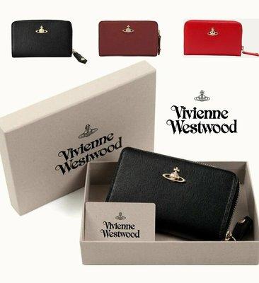 Vivienne Westwood ( 黑色 / 深酒紅色 / 紅色) 防刮壓紋 真皮 拉鍊中長夾 皮夾 錢包|100%全新正品|特價!