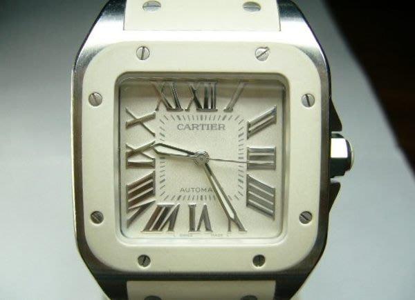 [吉宏精品交流中心]CARTIER 卡地亞 SANTOS 山度士 100 自動機械 白色 膠帶 女錶