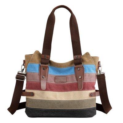 肩背包帆布手提包-休閒撞色條紋拼接女包包73wa28[獨家進口][米蘭精品]