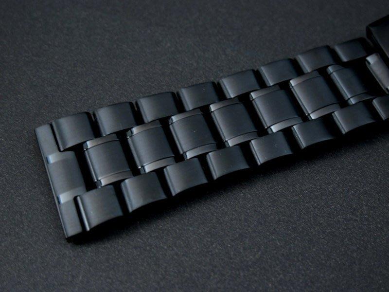 黑色PVD超值sea master海馬風格24mm平頭實心不鏽鋼製錶帶speed master,可替代各式同規格表帶