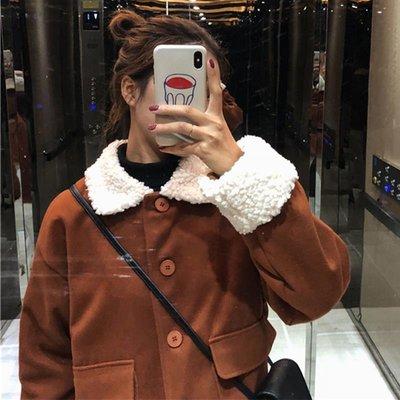 [Margot]2018新款冬裝女裝韓版寬松拼接仿羊羔毛棉服學生夾棉加厚棉衣外套