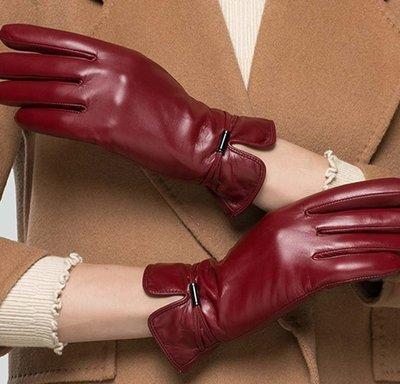 真羊皮手套 秋冬加絨觸 新款女士山羊皮手套 保暖時尚百搭