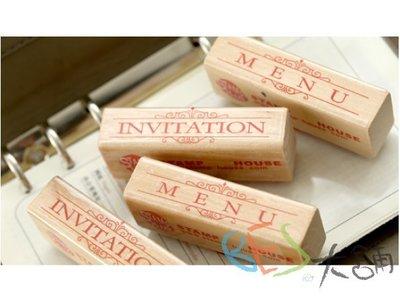 文字系列印章/2款選@INVITATION MENU木頭印章手作邀請卡菜單製作