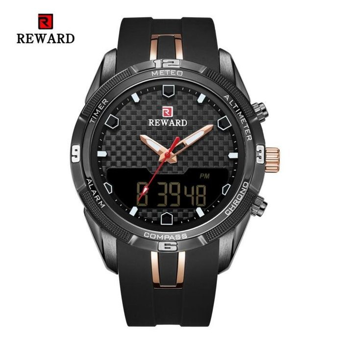 REWARD防水LED手錶RD63095M矽膠雙機芯數位電子腕表 男士運動表 潮流男錶9992