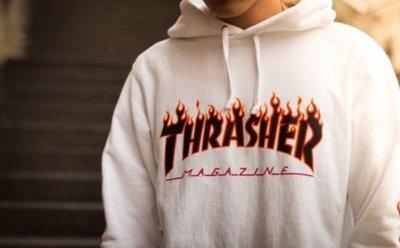潮物Woo Thrash新er Flame Hoo新品d 日版火焰Logo印花加絨衛衣帽衫男女N1