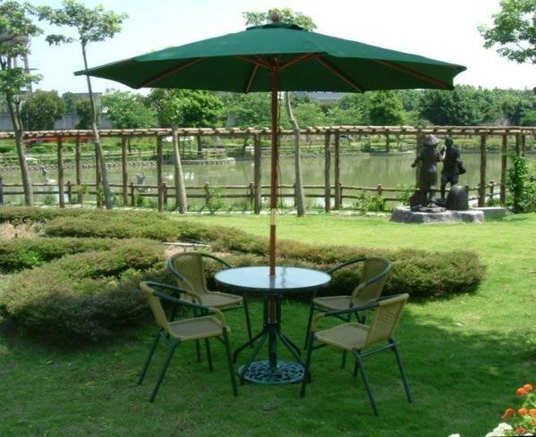 兄弟牌PE藤椅4張+80cm玻璃圓桌組(+9尺綠色木柄傘及12kg鑄鐵傘座)~~直購免運費!!