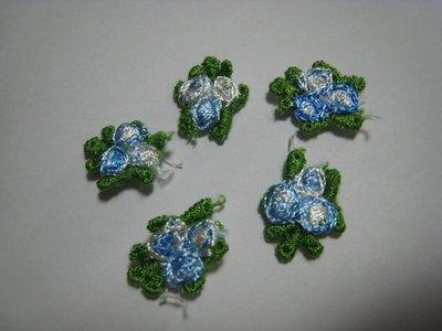 【蕾絲工坊】↙DIY手作材料↗ 刺繡水溶蕾絲貼布貼*M01003*藍色小花(2朵1元)