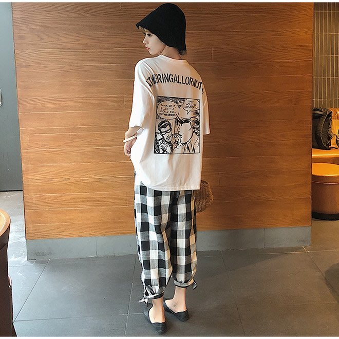 FINDSENSE G6 韓國時尚潮流 2019夏季新款寬鬆卡通漫畫字母印花短袖T恤顯瘦上衣