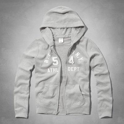 Maple麋鹿小舖 abercrombie&fitch * a&f 男童款淺灰色電繡貼布連帽外套*( 現貨XL號 )