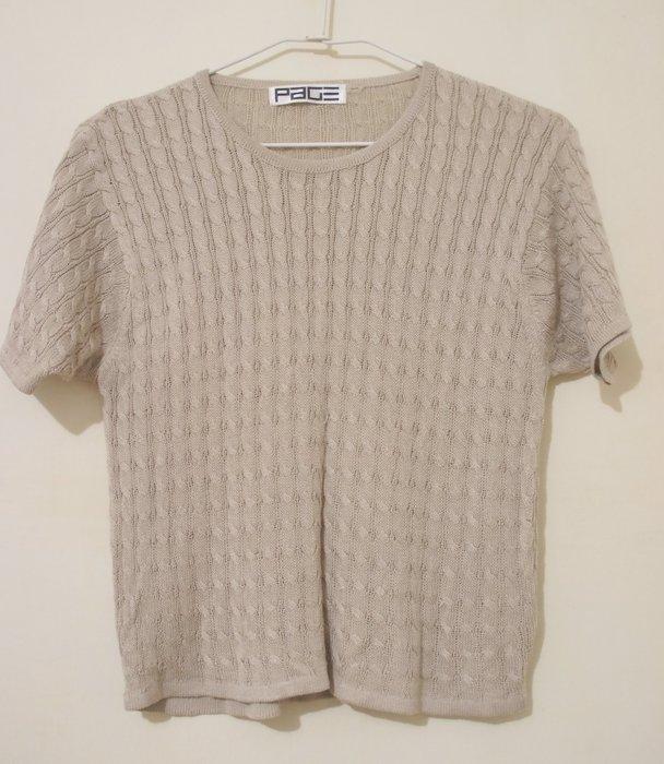 B635A - (幾乎全新) - PAGE 米咖啡色短袖針織衫