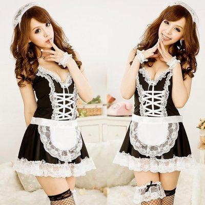 ☆女孩衣著☆制服套裝誘惑内女佣裝清純可愛黑白花邊系帶女僕裝表演出服派對裝(NO.32)