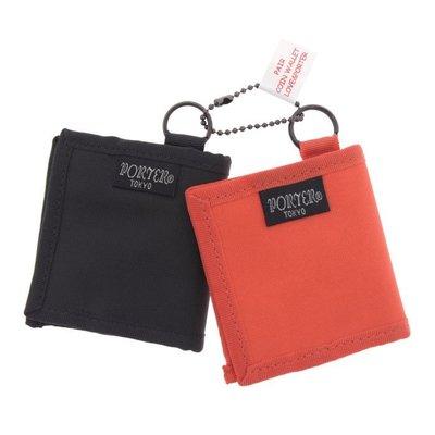 REISEN:JP.真品日本製 日本吉田 PORTER 壓縮式 簡約LOGO布標 雙色尼龍 零錢包.二入