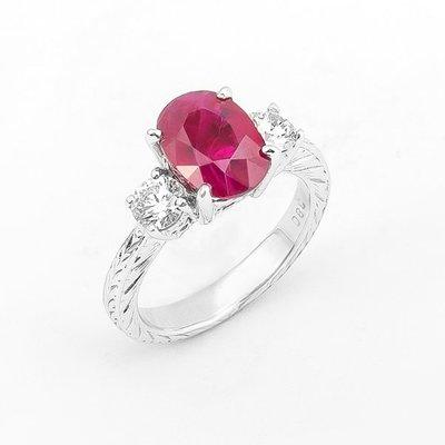 【JHT 金宏總珠寶/GIA鑽石專賣】3.80ct天然紅寶鑽石戒指/材質:18K(R00012)