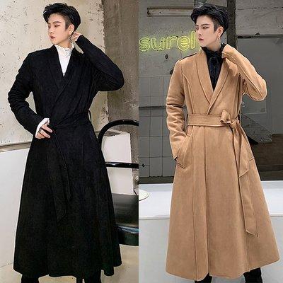 『潮范』 N9 暗黑復古氣質麂皮絨長大衣 系帶中長款風衣外套 騎士軍裝外套NRG1360