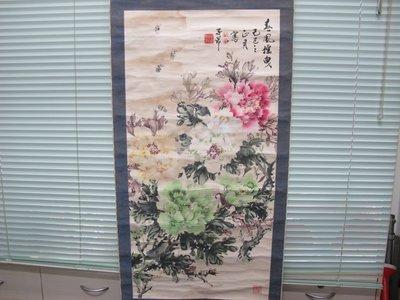 二手舖~NO.728 大陸北京 張明波 手畫牡丹 暈意斯人!