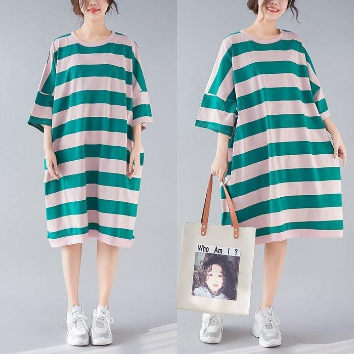 雯雯小舖新品圓領粗條紋寬松大碼棉質T恤上衣連身裙0119