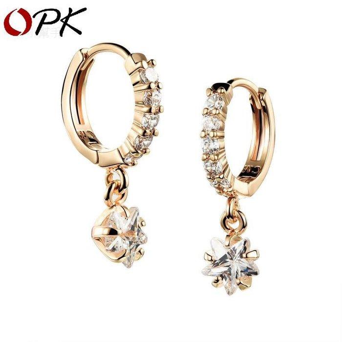 百搭鋯石女士耳釘微鑲鋯石星星墜飾耳環電鍍K金閨蜜飾品優品小舖