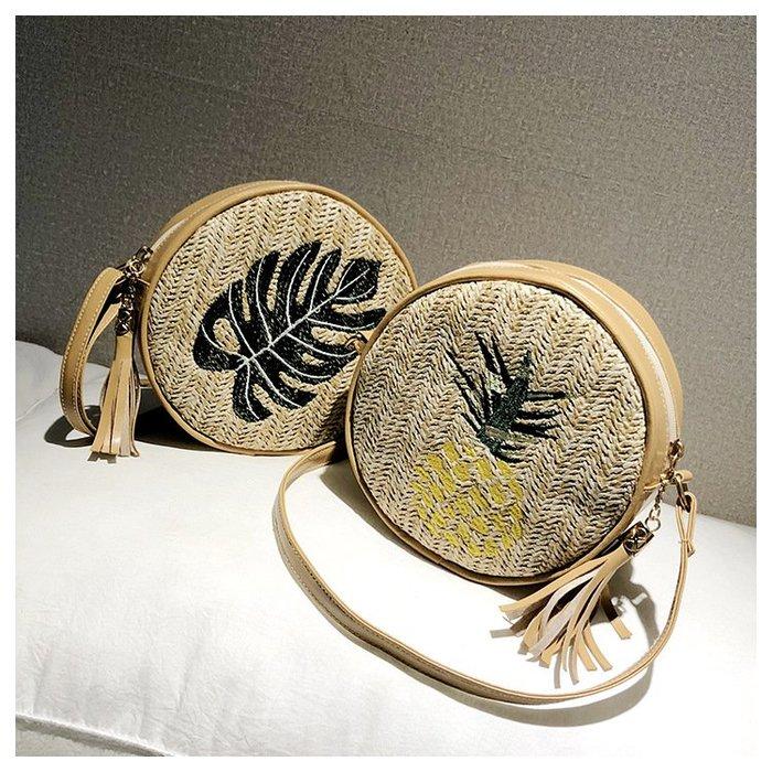 【現貨】超可愛~🍍 鳳梨 菠蘿 椰子樹 樹葉 草編 編織包 單肩 手提包 斜挎包 斜背包 圓包 藤編