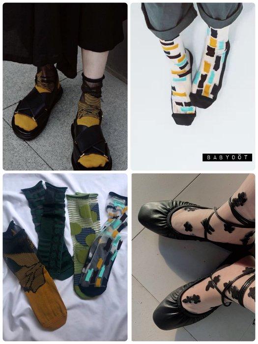 🙋♀️夏現貨✨日韓風格 AB襪 透明襪 玻璃紗造型襪 水晶襪 中筒襪 女襪 女生襪子 不對稱襪 蕾絲 拼接捲邊襪