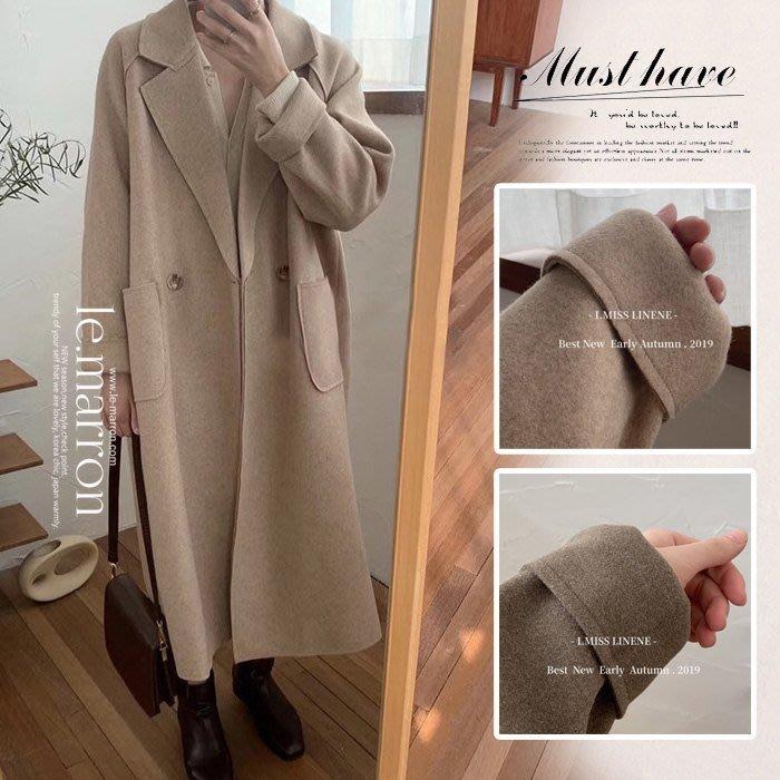 【免運】韓版好品質 自留款 復古翻領 雙口袋長版過膝 厚實毛呢大衣外套#K1203預購
