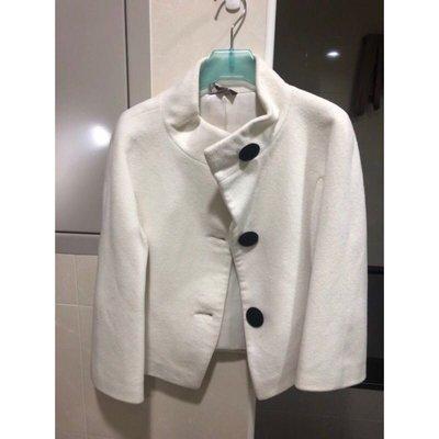100%cashmere奶白色七分袖立領小外套~內有zara Kookai MaxMara Loro Piana