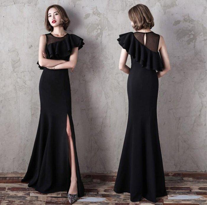 洋裝 晚禮服 長裙 氣質名媛魚尾裙 長款顯瘦公司年會宴會女主持人小禮服 尾牙禮服—莎芭