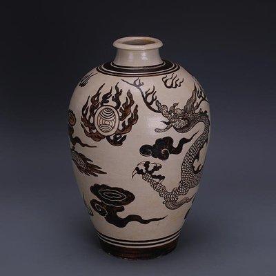 【三顧茅廬 】宋代吉州窯手工彩繪龍紋梅瓶 出土文物古瓷器古玩古董收藏擺件