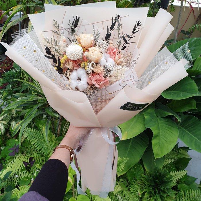 《Roof Garden Workshop》【預購】鵝黃色永生玫瑰韓式花束/求婚/生日/情人節/畢業花束/鵝黃色不凋花束