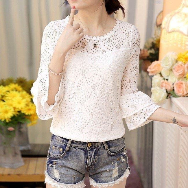 YEAHSHOP 新款小衫夏季新款韓版顯瘦女裝白色七分喇叭袖上衣打底蕾絲衫Y185