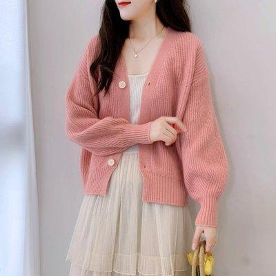 新款秋冬2020韓版針織開衫外套寬鬆短款長袖V領百搭外搭毛衣女裝 【雙旦狂歡購】