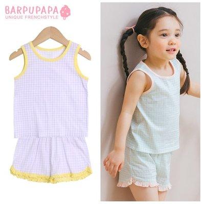 ✽Summer 2019夏新品✽韓國Barpupapa女童格紋花邊純棉背心居家服套裝