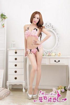 層層蕾絲搭配黑色蝴蝶結比基尼性感睡衣 游戰薄紗 制服誘惑 粉色/黑色 二色可選 2298