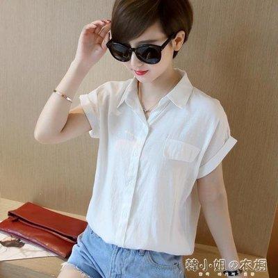 ZIHOPE 韓版新款棉麻白襯衫女顯瘦百搭翻領亞麻襯衣短袖女裝寬鬆上衣ZI812