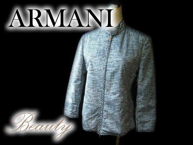 *Beauty*ARMANI藍色格紋舖棉外套 WE14