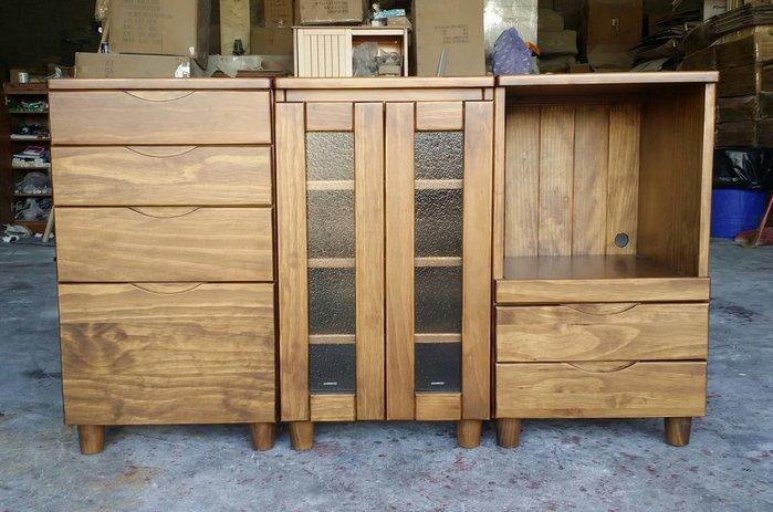 美生活館 鄉村傢俱訂製 紐西蘭松木原木 古銅色 餐櫃 收納櫃 玻璃櫃 電器櫃 (三只可合併) 也可修改尺寸與顏色