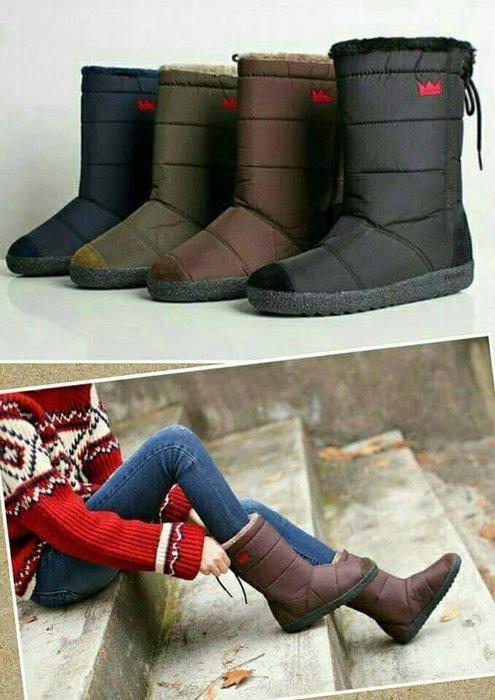 『※妳好,可愛※』韓國 皇冠雪靴 Ollie類似款 親子防水靴 中筒靴親子鞋 輕巧羽絨後綁帶防水長雪靴